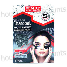 6 X BEAUTY FORMULAS ACTIVATED CHARCOAL HYDRO EYE GEL PATCHES BRIGHTER FRESHER