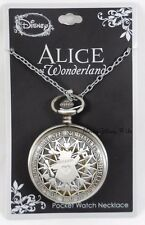 New Disney Alice in Wonderland Hello I'm Late White Rabbit Pocket Watch Necklace