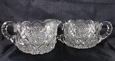 Outstanding Antique Hunt American Brilliant Cut Glass ABC Creamer&Sugar Royal