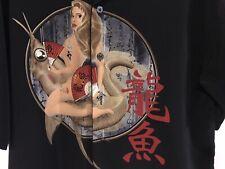 Seven 7 Diamonds Black Short Sleeve Bowling Shirt Lady& Koi Graphic Design Sz M