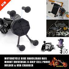 "X-Grip Motorcycle Bike Phone GPS Holder USB Charger Handlebar Rail Mount 3.5""-6"