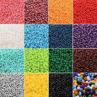 50g 11/0 FGB Glass Seed Beads Grade A Baking Varnish Opaque Colours 2mm Mixed
