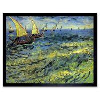 Vincent Van Gogh Fishing Boats At Sea 1888 Old Master Painting Framed Art Print