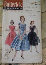 New ListingNew 1950s Vintage Dress Sewing Pattern Bust 32 Size14, Butterick 6875 Uncut
