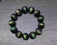 Natural Black Obsidian Green Light Gemstone Round Beads Bracelet AAAAA 16mm