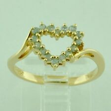 14k Solid Yellow Gold 0.20 ct ladies Natural Diamond Open Heart Ring