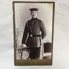 WWI Carte De Visite Photograph German Soldier Officer Sword Karl Bauer Karlsruhe