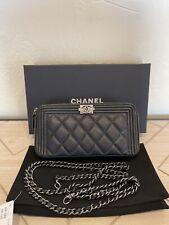 AUTH Chanel Boy Double Zip Wallet/Clutch Chain WOC Gunmetal Removable Chain Bag
