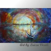 BOAT Art Painting Original Abstract Large Painting SAILBOAT in the MOONLIGHT Oil