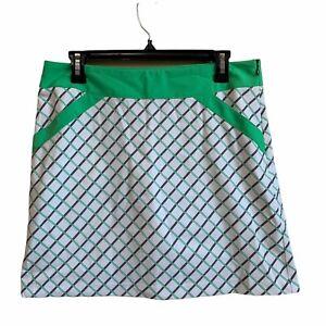 Annika Cutter & Buck White Green Plaid Golf Tennis Pockets Skort Skirt 6