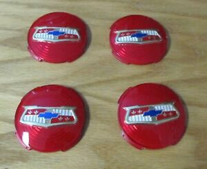 1957 1958 CHEVY WHEEL COVER SPINNER PLASTIC EMBLEMS Set of 4 Also 54 Wheel Cover