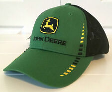 John Deere Green Fabric & Black Cloth Mesh Hat Cap w Block Embroidery Outline