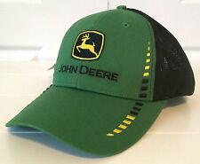 John Deere Green Fabric & Black Cloth Mesh Hat Cap w Block Embroidery Outline