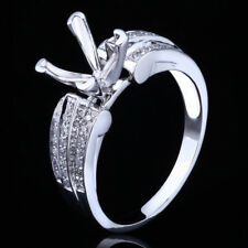 Solid 10K White Gold Princess Diamonds Semi Mount Engagement Wedding Fine Ring