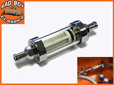 UNIVERSAL Chrome & Real Glass Fuel Petrol Inline Filter CAR, MOTORCYCLE etc
