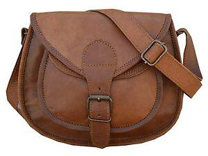 Women Vintage Looking Brown Goat Leather Messenger CrossBody Bag Handmade Purse