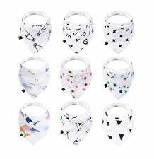 100 Organic Cotton Baby Bandana Drool Bibs for Boys and Girls Solid Colorful