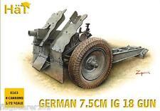 HAT 8163 WW2 GERMAN PAK 75mm IG 18 GUN & CREW. 1/72 SCALE UNPAINTED PLASTIC