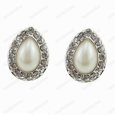 CLIP ON crystal PEARL tear drop EARRINGS silver rhinestone EZ comfort push clips