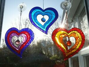 MULTI COLOUR HEART SUN CATCHER * STAINED GLASS EFFECT * With Hook
