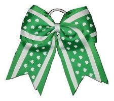 "NEW ""IRISH SHAMROCKS"" Cheer Hair Bow Pony Tail 3 Inch Ribbon Girls Cheerleading"