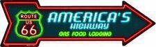 PLAQUE DECORATIVE ROUTE 66  AMERICA'S HIGHWAY -FLECHE- 40CM- DECO USA /BIKER