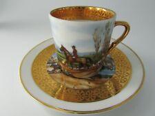 tasse à café litron porcelaine de Limoges décor chasse à courre coffee cup hunt