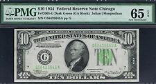 $10 1934 Chicago FRN. Dark Green Seal. DGS. PMG 65 EPQ . Tough Note