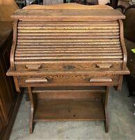 Vintage Antique Childs' Solid Oak Wooden Roll Top Desk Secretary - WE SHIP