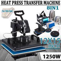 8 In 1 Digital Heat Press Machine Sublimation for T-Shirt Mug Plate Hat Printer