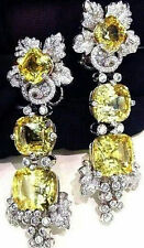 Solid 925 Sterling Silver Yellow Cushion Flower Beautiful Dangle Earrings Cz New
