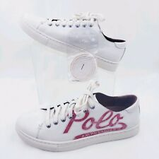 Polo Ralph Lauren Jermain Logo Fashion Sneakers 8 D White Lace Up Shoes $175