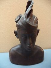 "Bali Hindu Brahman Priest 7"" Carved Suar Wood Busts Good Condition South Seas"