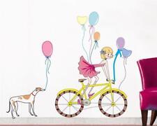 Wandtattoo Wandsticker Wandaufkleber Fahrrad Hund Ballons Kind 100 x 120 YD081