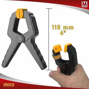 Morsetto a molla Pinza 11 cm Strettoio falegname Clip plastica Forza 12 Kg Ingco