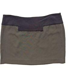 Atos Lombardini Khaki + Black Mini Skirt Size 44 EU > 12 UK New