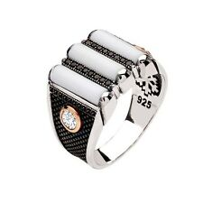 WHITE ONYX STONE and CUBIC ZIRCONIA 925 K STERLING SILVER MEN'S RING 6 7 8 9 10