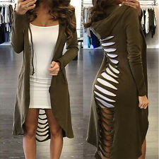 Gothic Women's Cut Out Cardigan Long Ripped Back Hooded Hoodie Coat Sweater New.