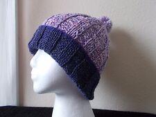 Hand knitted elegant & warm  pom pom beanie/hat,  purple/lavender