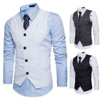 Business Men Striped Single-Breasted Suit Vest Slim Wedding Casual Waistcoat New