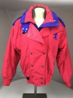 Couloir Womens Vintage 80s Pink Purple ColorBlock Ski Jacket Sz 10 Hooded Snow
