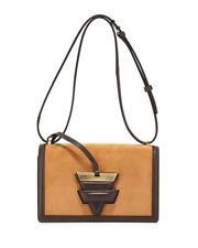 LOEWE $2350 BARCELONA 24 Tan Suede Brown Leather Flap Shoulder Bag Handbag NEW