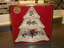 Lenox Winter Greetings CARDINAL Tree Divided Server Dish NEW IN BOX