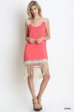 NWT Umgee USA Coral Shift Dress With Fringe Hem Size Large