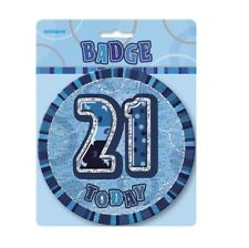"""Blue Glitz 21 Today 6"""" Giant 21st Birthday Badge Party Badges Decorations"""