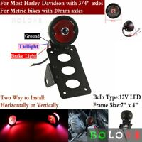 Amazicha Motorcycle LED Brake Rear Light Taillight with 3//4 Hole Side Mount License Plate Bracket for Harley Sporster Bobber Chopper