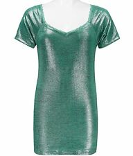 Top BKE Heathered Foil Top SZ Small Green From The Buckle New NWT
