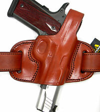 "TAGUA BROWN LEATHER MINI THUMB BREAK OWB BELT HOLSTER for 5"" 1911 (Non-Rail)"