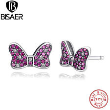 925 Sterling Silver Red White Crystal CZ Sparkling Bow Stud Earrings For Women