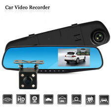 In Car 4.3'' 1080P Dual Lens Auto Mirror Dash Cam Recorder Rearview Camera DVR